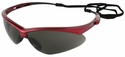 Jackson Nemesis Inferno Safety Glasses with Red Frame and Smoke Lens
