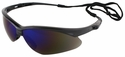 Jackson Nemesis Safety Glasses with Black Frame and Blue Mirror Lens