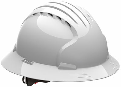 JSP 6161 Evolution Deluxe VENTED Full Brim Hard Hat with 6-Point Ratchet Suspension