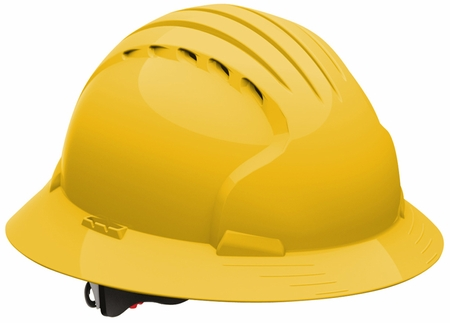 JSP 6161 Evolution Deluxe VENTED Hard Hat with Full Brim and 6-Point Ratchet Suspension