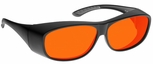 NoIR BluGard LARGE OTG Deluxe Nighttime Eyewear with Black Over-Prescription Frame and Orange Lens