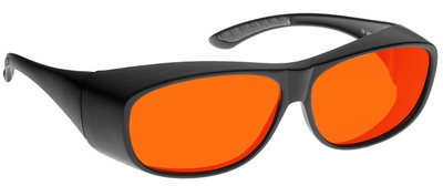 NoIR BluGard MEDIUM OTG Deluxe Nighttime Eyewear with Black Over-Prescription Frame and Orange Lens