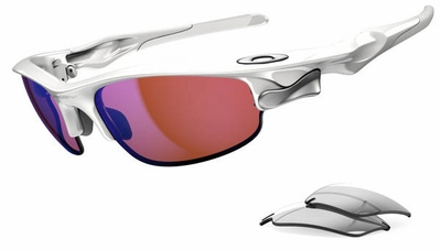 Oakley Fast Jacket Sunglasses with Polished White Frame and G30 Iridium and Slate Iridium Lenses