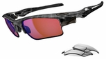 Oakley Fast Jacket XL Sunglasses with Black Plaid Frame and G30 Polarized and Slate Iridium Lenses