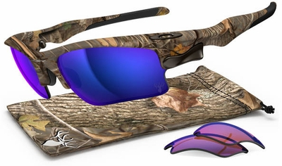 Oakley Fast Jacket XL Sunglasses with King's Woodland Camo Frame and Shallow Blue Iridium Polarized and G30 Lenses
