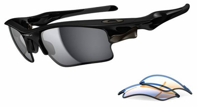 Oakley Fast Jacket XL Sunglasses with Polished Black Frame and Black Iridium and P42 Lenses