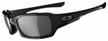 Oakley Fives Squared Sunglasses with Polished Black Frame and Black Iridium Polarized Lens