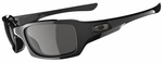 Oakley Fives Squared Sunglasses with Polished Black Frame and Grey Lens
