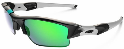 Oakley Flak Jacket XLJ Sunglasses with Polished Black Frame and Jade Iridium Lenses