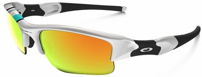 Oakley Flak Jacket XLJ Sunglasses with Polished White Frame and Fire Iridium Lenses