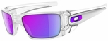 Oakley Fuel Cell Sunglasses with Polished Clear Frame and Violet Iridium Lens