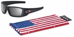 Oakley SI Fuel Cell Sunglasses with Matte Black Frame and US Flag Grey Lens