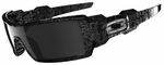Oakley Oil Rig Sunglasses with Black w/Silver Ghost Text Frame and Black Iridium Lens