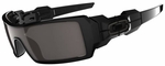 Oakley Oil Rig Sunglasses with Polished Black Frame and Warm Gray Lens