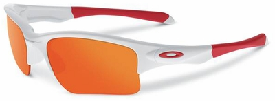 Oakley Quarter Jacket Sunglasses with Polished White Frame and Fire Iridium Lenses