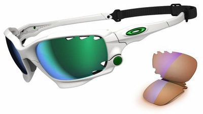 Oakley Racing Jacket Sunglasses with Matte White Frame and Jade Iridium and P42 Lenses
