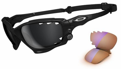 Oakley Racing Jacket Sunglasses with Polished Black Frame and Black Iridium and P42 Lenses