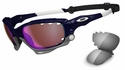 Oakley Racing Jacket Sunglasses with Polished Navy Frame and VR28 Blue Iridium and Grey Lenses