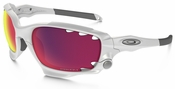 Oakley Racing Jacket with Matte White Frame and Prizm Road Persimmon Vented Lens