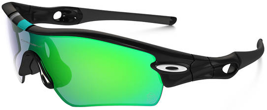 black and red oakley sunglasses 0te9  Oakley Radar Path Sunglasses with Polished Black Frame and Jade Iridium Lens