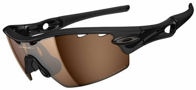 Oakley Radar Pitch Sunglasses with Polished Black Frame and Bronze Polarized Vented Lenses