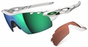 Oakley Radarlock Pitch Sunglasses with Polished White Frame and Jade Iridium Vented and VR28 Vented Lenses