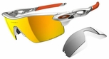 Oakley Radarlock Pitch Sunglasses with Silver Frame and Fire Iridium Polarized and Black Iridium Lenses