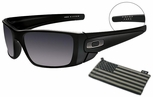 Oakley SI Fuel Cell Sunglasses with Matte Black Frame, Steel Flag Logo and Black Iridium Lens