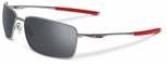 Oakley Square Wire Sunglasses with Light Frame and Black Iridium Polarized Lenses