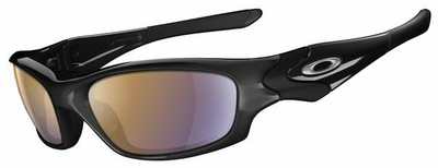 Oakley Straight Jacket Sunglasses with Polished Black Frame and Shallow Blue Iridium Polarized Lens