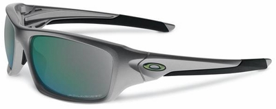 Oakley Valve Sunglasses with Dark Grey Frame and Emerald Iridium Polarized Lenses