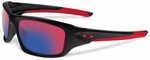 Oakley Valve Sunglasses with Polished Black Frame and +Red Iridium Lenses