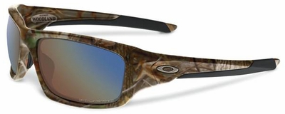 Oakley Valve Sunglasses with Woodland Camo Frame and Shallow Blue Polarized Lenses