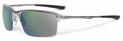 Oakley Wiretap Sunglasses with Light Frame and Emerald Iridium Polarized Lens