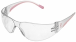 PIP Eva Petite Women's Safety Glasses with Pink Temple Trim and Clear Hard Coat Lens