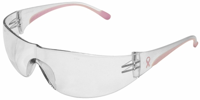 PIP Eva Women's Safety Glasses with Pink Temple Trim and Clear Hard Coat Lens