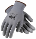PIP G-Tek NPG Gloves with Gray Polyurethane Palm & Fingers On Gray Seamless Knit Nylon