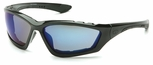 Pyramex Accurist Safety Glasses with Black Frame and Blue Mirror Anti-Fog Lens
