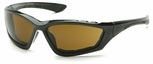 Pyramex Accurist Safety Glasses with Black Frame and Coffee Anti-Fog Lens