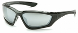 Pyramex Accurist Safety Glasses with Black Frame and Silver Mirror Anti-Fog Lens