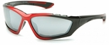 Pyramex Accurist Safety Glasses with Black/Red Frame and Silver Mirror Lens