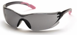 Pyramex Achieva Safety Glasses with Pink Temple Tips and Gray Lens