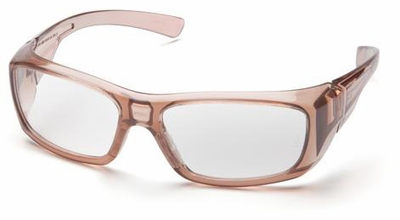 Pyramex Emerge Safety Glasses with Translucent Brown Frame and Clear Full Magnifying Lens