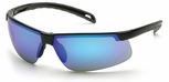 Pyramex Ever-Lite Safety Glasses with Black Frame and Ice Blue Mirror Lens