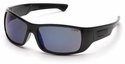 Pyramex Furix Safety Glasses with Black Frame and Blue Mirror Anti-Fog Lens