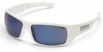 Pyramex Furix Safety Glasses with White Frame and Blue Mirror Anti-Fog Lens
