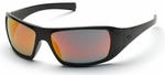 Pyramex Goliath Safety Glasses with Black Frame and Ice Orange Mirror Lens