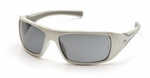 Pyramex Goliath Safety Glasses with Pearl White Frame and Gray Lens
