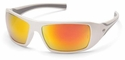 Pyramex Goliath Safety Glasses with Pearl White Frame and Ice Orange Mirror Lens
