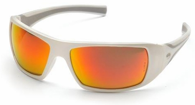 Pyramex Goliath Safety Glasses with Pearl White Frame and Sky Red Mirror Lens